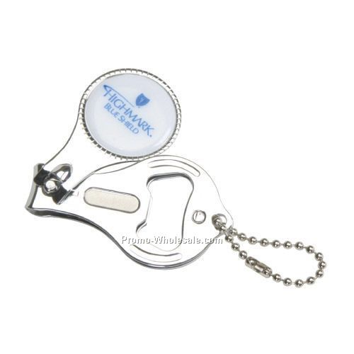 Round Nail Clipper With Bottle Opener Keyring