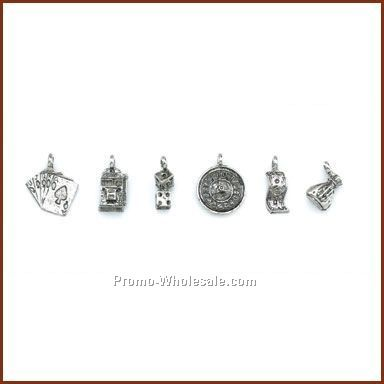 Set Of 6 Gambling Stock Wine Charms On Card