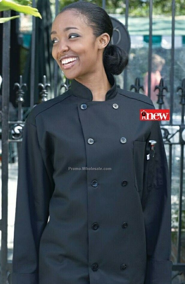 10 Pearl Button Chef Black Coat (X-s- 6xl)