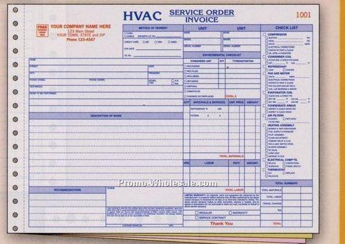 "11""x8-1/2"" 3 Part Hvac Horizontal Service Order/ Invoice"
