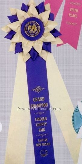 "16"" Custom Rosette Ribbon With 2""x13"" Triple Streamer & 6"" Head"