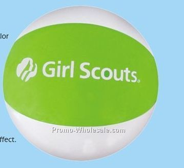 """16"""" Inflatable Two Alternating Color Beach Ball - White W/ Lime Green"""