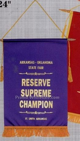 "6""x9"" Foil Stamped Banner With Hanging Rod, Cord, Tassel & Fringe"