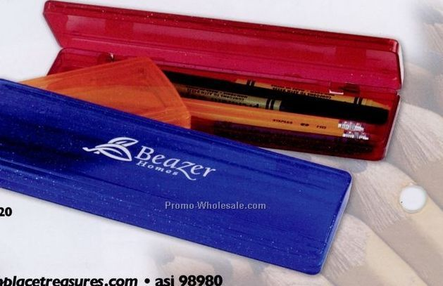 "7-3/4""x2-3/4"" Translucent Metallic Fleck Pencil Case (Blank)"