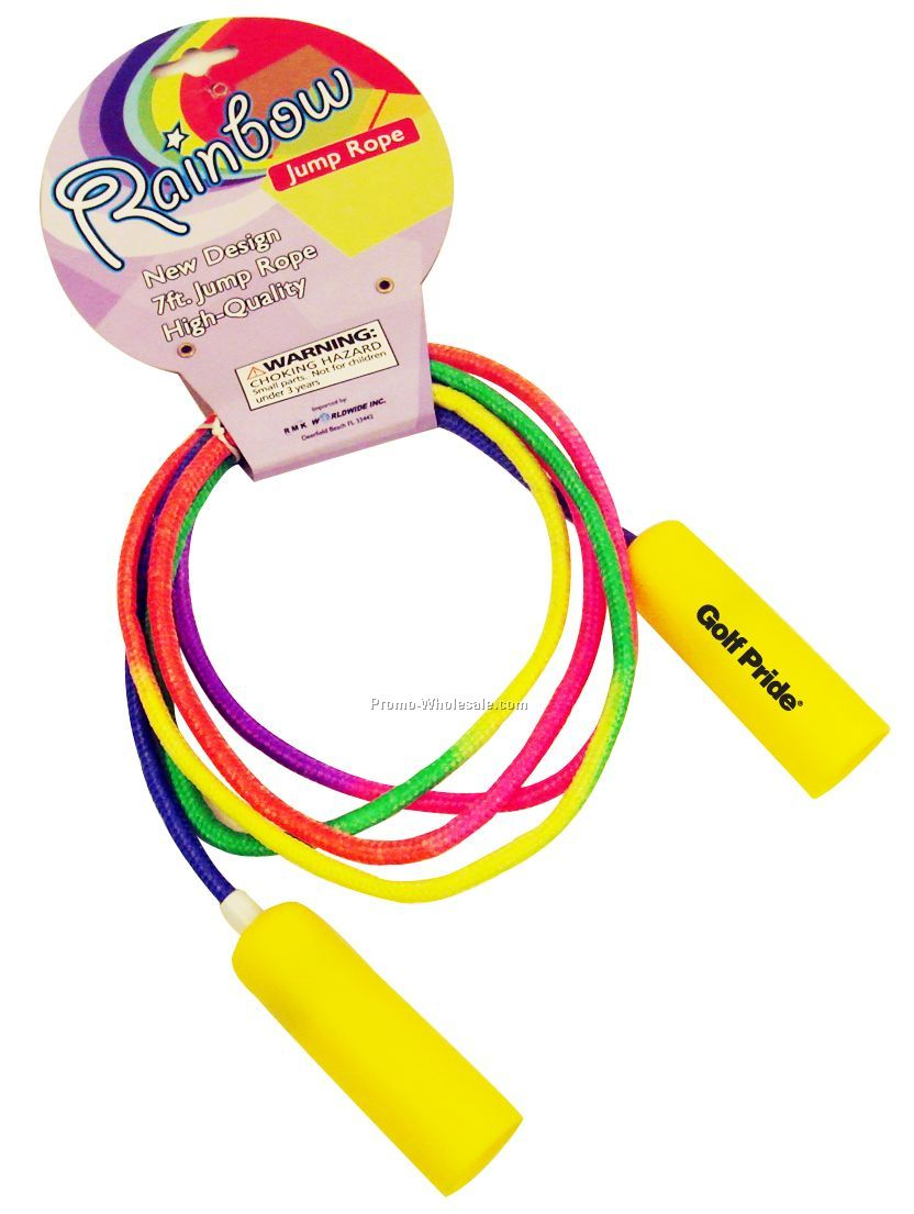 7' Yellow Handle Rainbow Colored Jump Rope (Imprint Both Handles***)