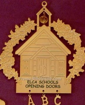 Gold Schoolhouse With A B C Charm Ornament