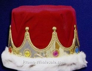 "Red & Gold Crown W/ Fur Edge (6"" High)"