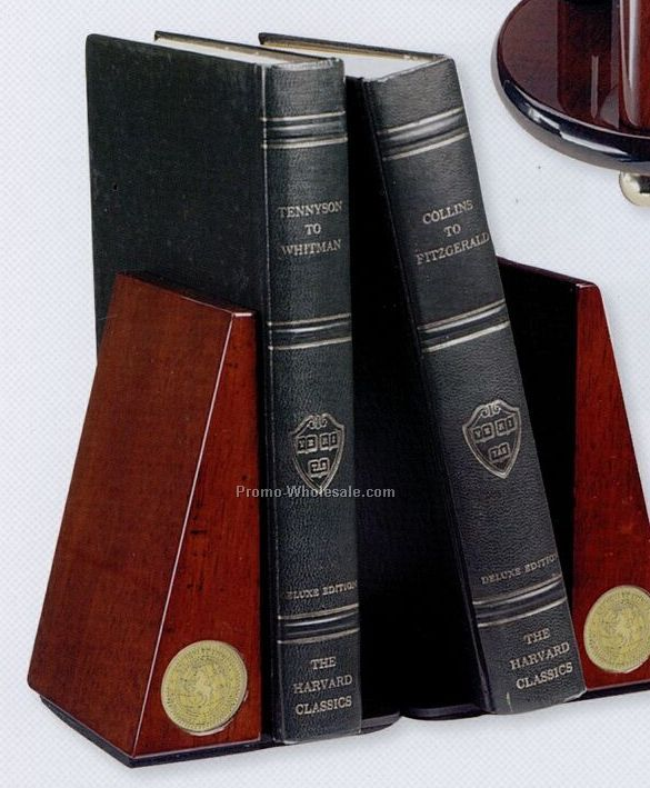 Rosewood Finish Wood Bookends