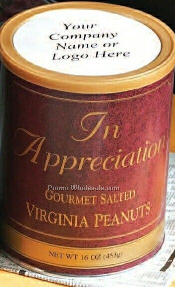 10 Oz Dark Chocolate Covered Peanuts Can W Custom Label