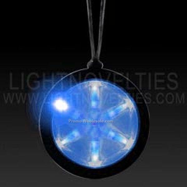 "2-1/4"" Light Up Badge W/ Blue Pendant Necklace"