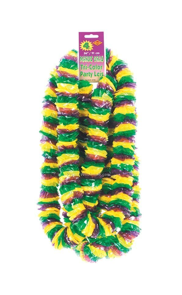"2""x36"" Bundled Soft Twist Mardi Gras Poly Leis"