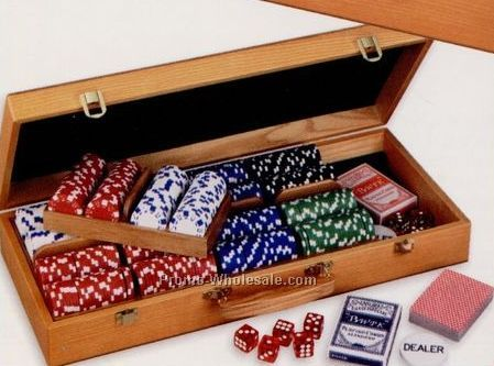 500 pc poker chip set wooden carrying case includes blank chips - Poker Chips Set