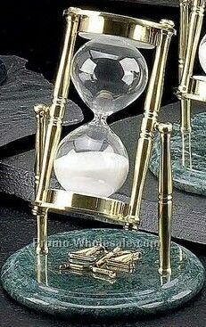 "7"" Legal Brass & Green Marble 30 Minutes Sand Timer"