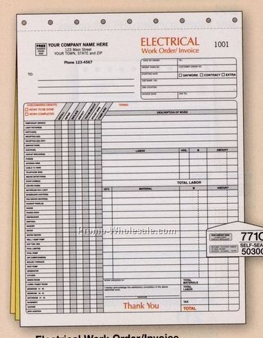 "8-1/2""x11"" 3 Part Electrical Work Order/ Invoice"