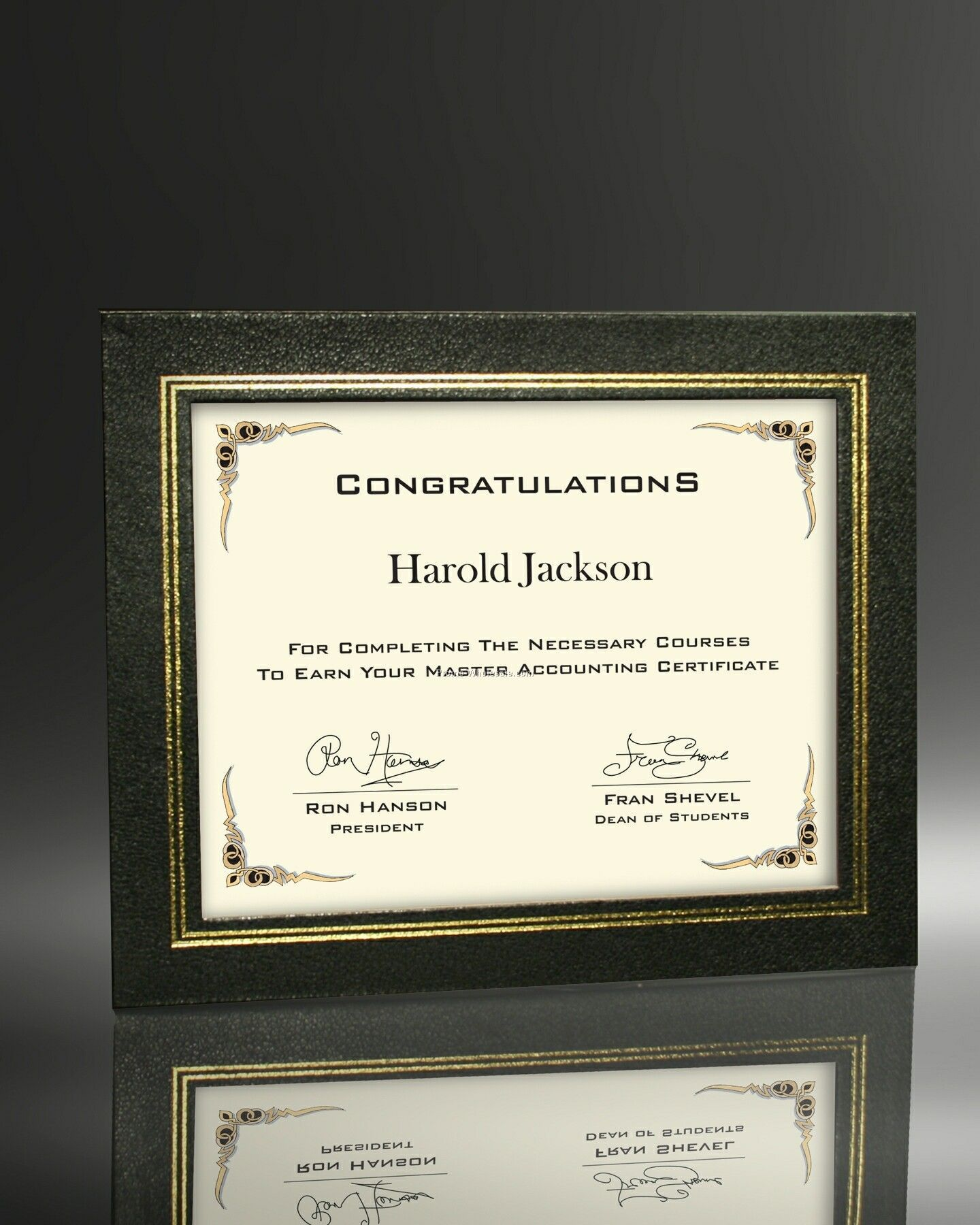 "9""x11"" Certificate In Black Leatherette"