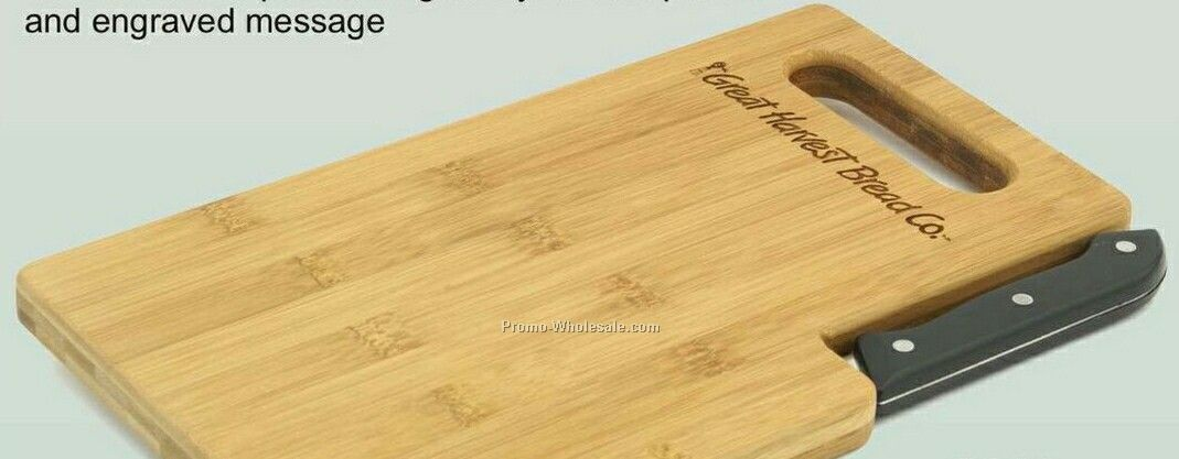 Bamboo Serving And Cutting Board With Knife