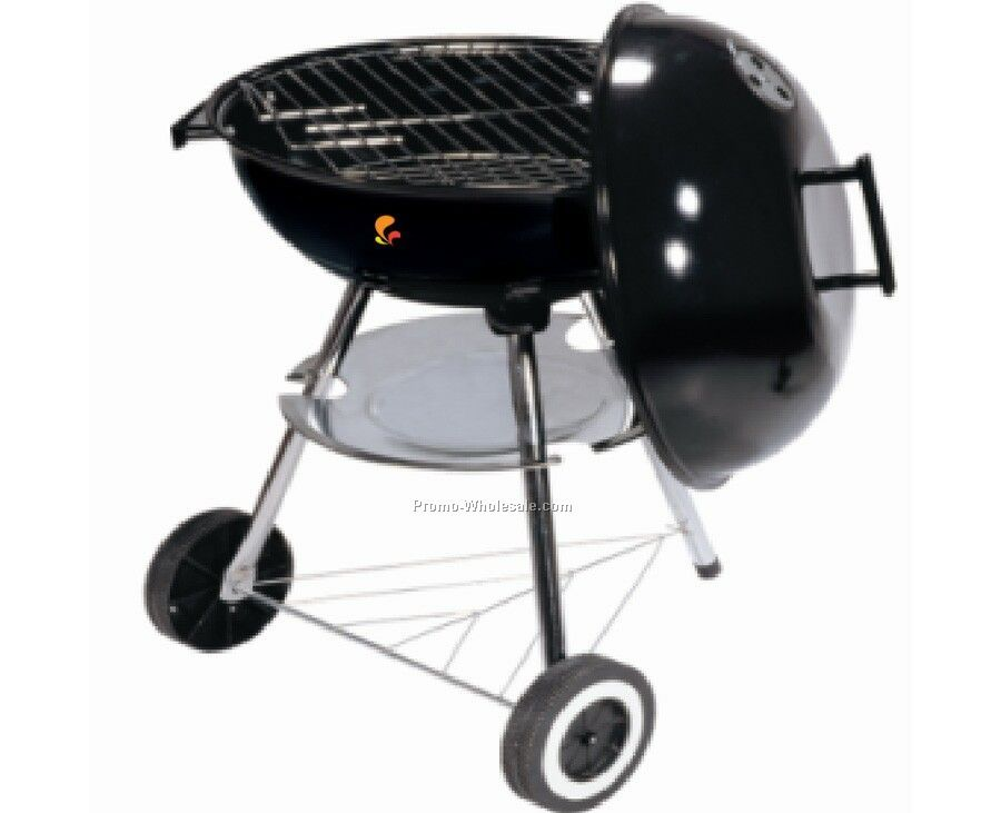 Barbecue Grill - Round With Wheels & Triangle Wire Shelf