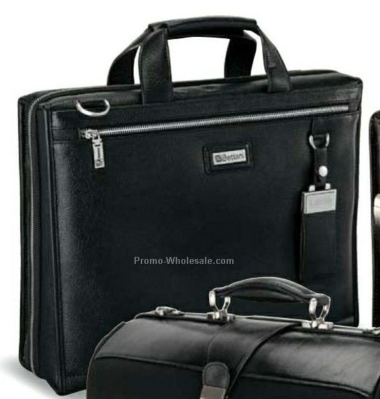 "Black Catania Rich Leather Briefcase 16""x12""x4"""