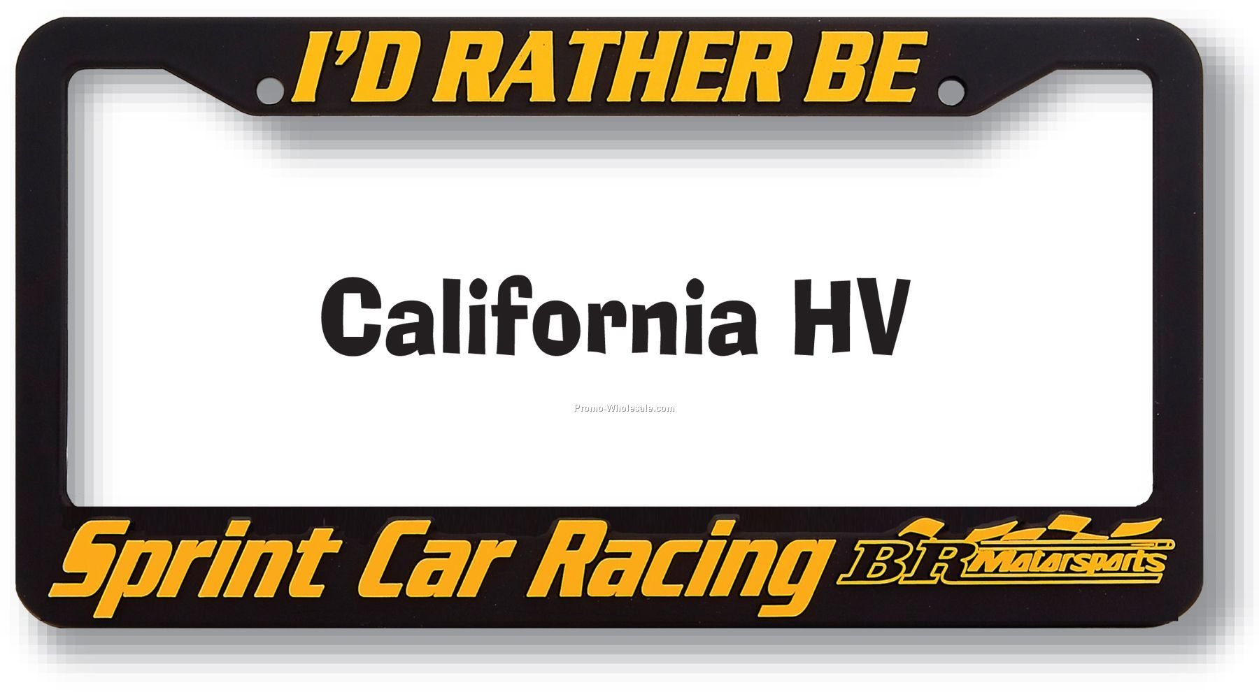 High View Raised Copy Plastic License Plate Frame