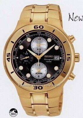 Seiko Gold Tone Watch - Black Face SGEA02