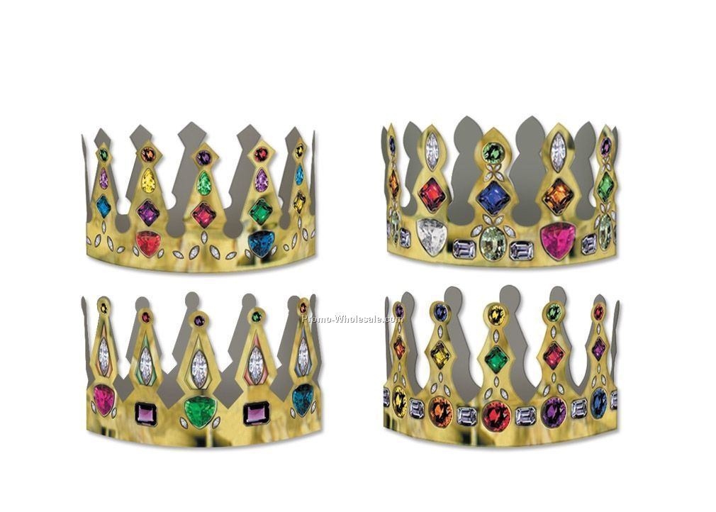 Packaged Printed Jeweled Crowns (Adjustable)