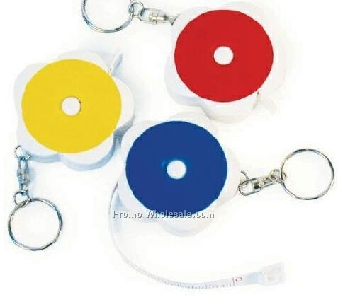 Round Retractable Tape Measure With Key Chain (Blue/Red/Yellow)
