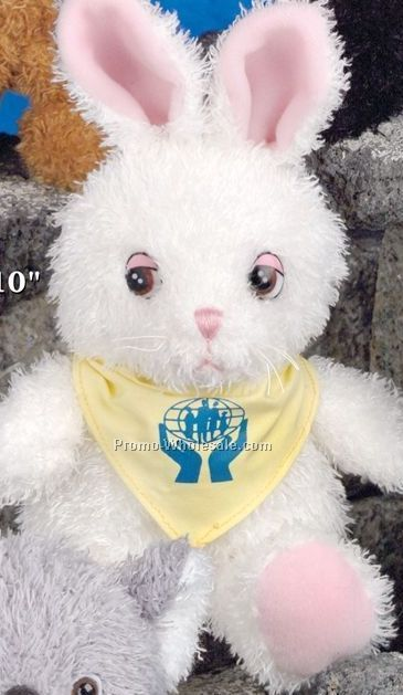 "Ruddly Family Stuffed White Bunny (10"")"