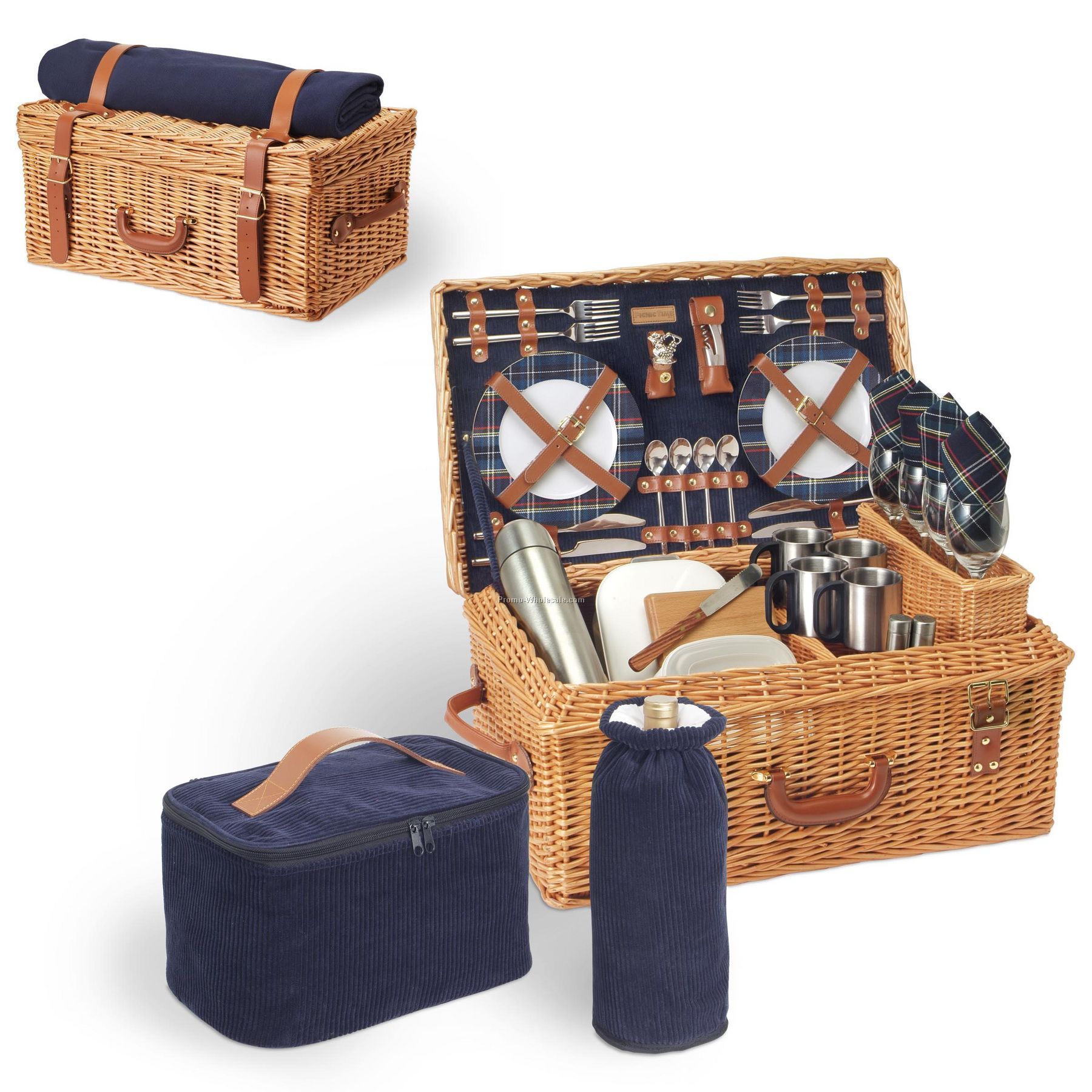Cheap Picnic Basket For 4 : Windsor english style suitcase picnic basket with service