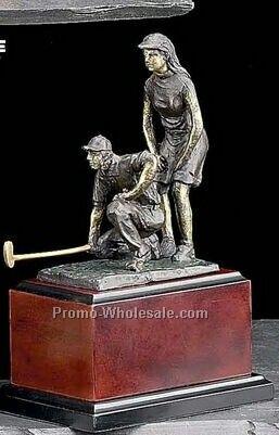"10-1/2"" Large Mix Double Golfers On Wood Base Trophy"
