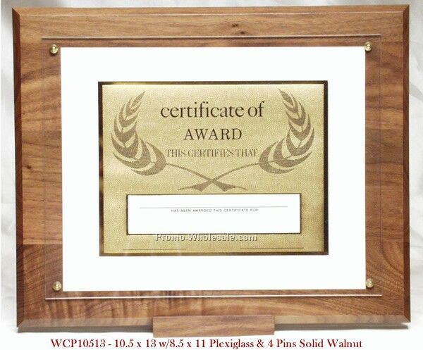 "10-1/2""x13"" Solid Walnut Certificate Plaque"