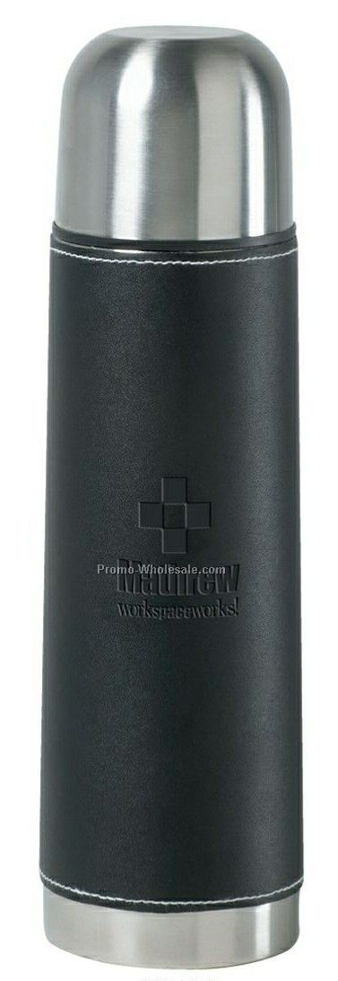 16 Oz. Stainless Steel Flask With Black Vinyl Sleeve