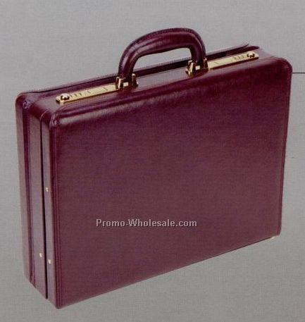 """17-3/4""""x13""""x4""""-5"""", Genuine Leather Continental Attache Case"""