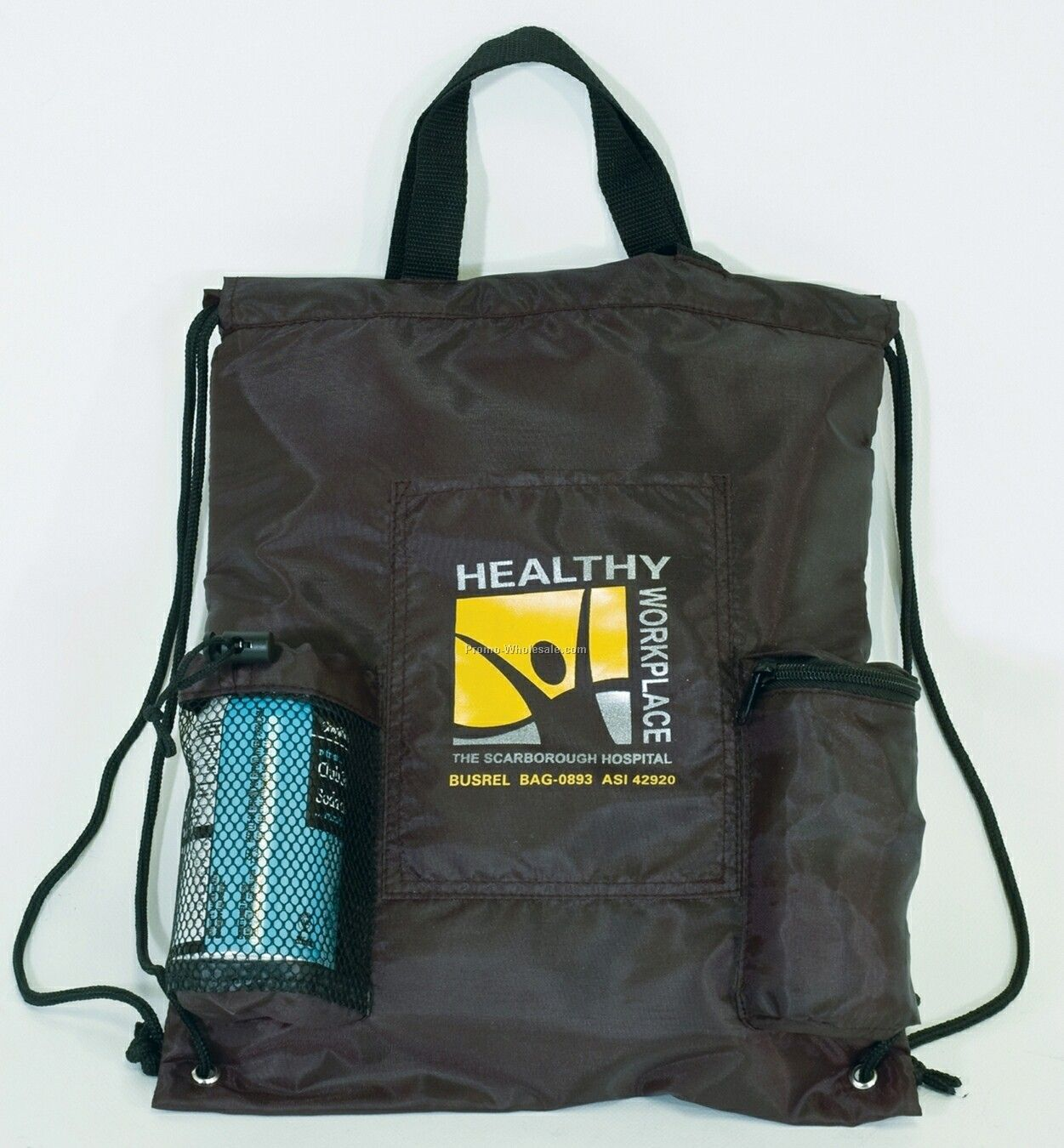 210d Polyester Drawstring Backpack Cooler W/ Mesh Pockets