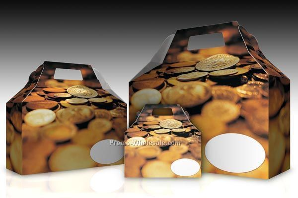 Gold Coins Gable Roof Donut Boxes