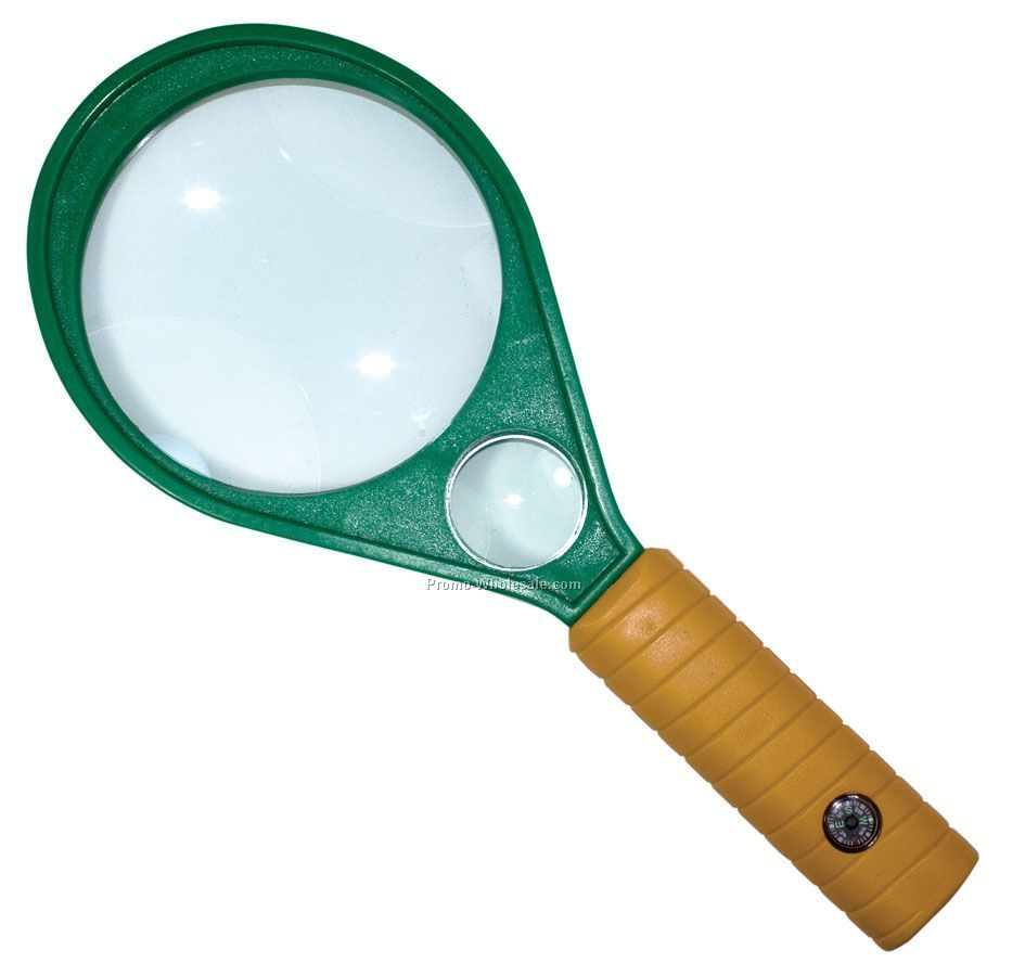 Magnifying Glass With Dual Magnification & Compass In Handle