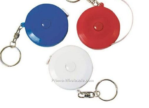 Round Retractable Tape Measure With Key Chain (White/Blue/Red)