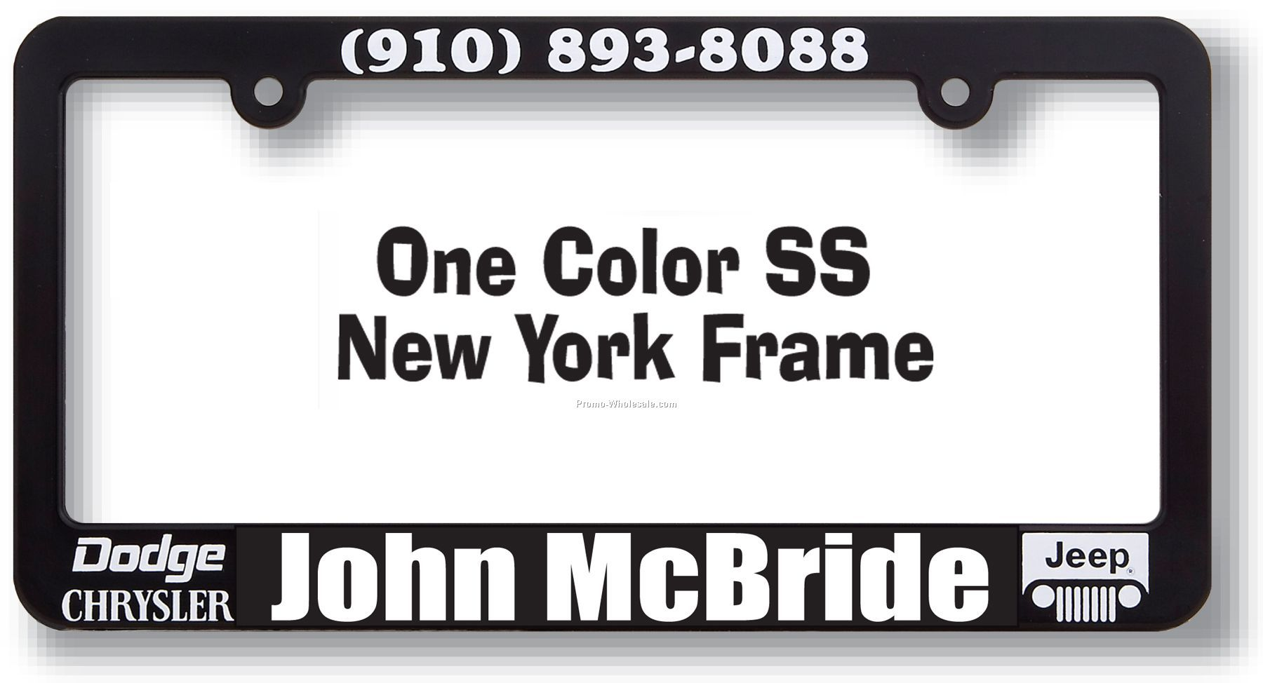 Silk Screen Plastic License Plate Frame With 1 Color Imprint