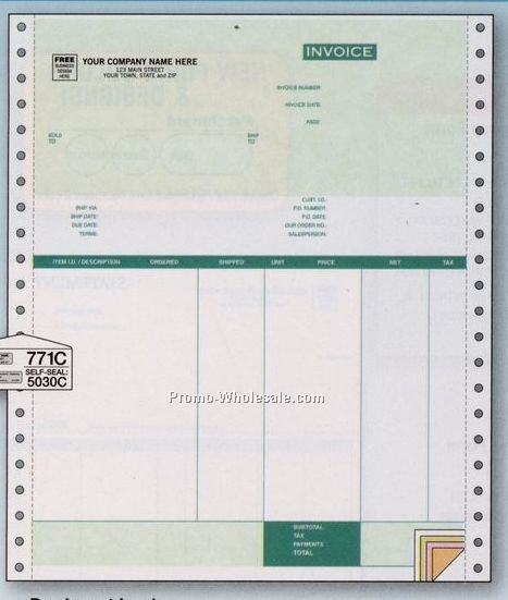 4 Part Parchment Invoice W/Packing List (Peachtree Classic Accounting 13.0)