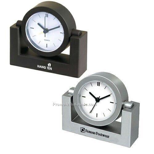 Swivel Desk Clock With Alarm (Black) - Custom Dial