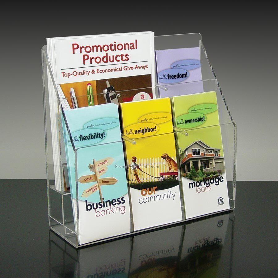 6-pocket Brochure Holder With Adjustable Pockets