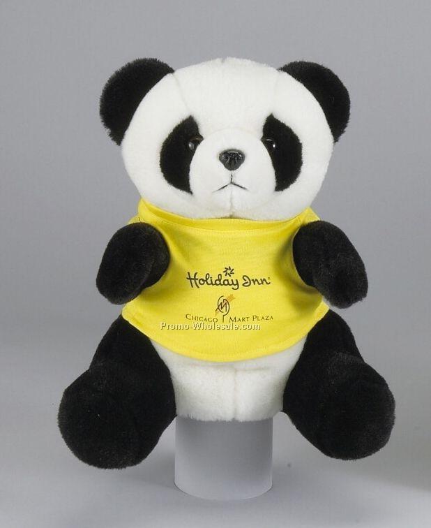 """9"""" Panda Bear Hand Puppet W/ Shirt"""