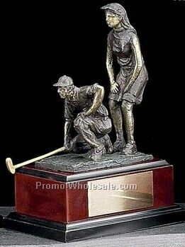 "9-3/4"" Large Mix Double Golfers On Wood Base Trophy"