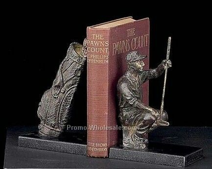 Bronzed Golfer And Bag Book Ends