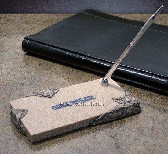 Chiseled Pen Holder With Base