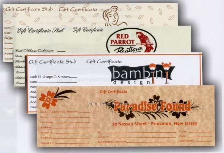 Custom Gift Certificates In Stock Papers