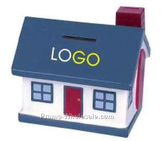 Gray Plastic House Shape Coin Bank