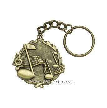 "Medal, ""music"" - 1-1/4"" Key Chain"