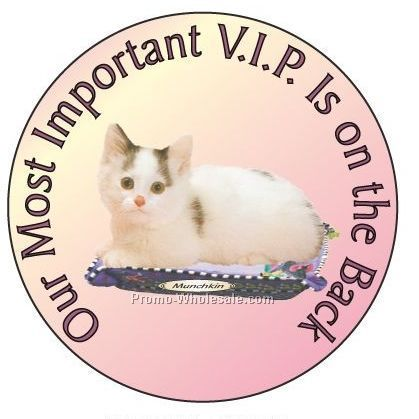 "Munchkin Cat Round Hand Mirror W/ Full Mirror Back (2-1/2"")"