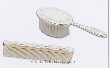 Silverplated French Chippendale Girl's Brush & Comb Set