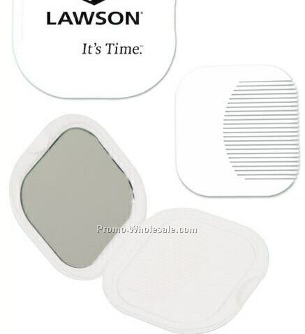 Square Compact Mirror And Comb Kit